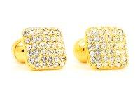 goldene Manschettenknöpfe mit silbernen Steinen