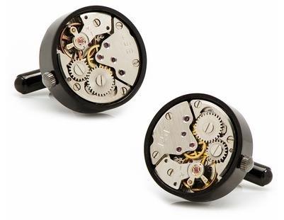schwarze Uhrwerk Manschettenknöpfe