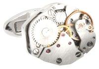 silberne Uhrwerk Manschettenknöpfe