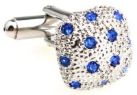 gewölbte silberne Diamant Manschettenknöpfe